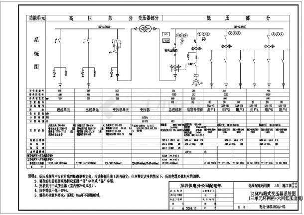 北方某城市公司箱式变压器电气设计图-图一