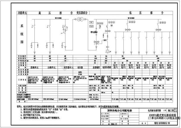 北方某城市公司箱式变压器电气设计图-图二