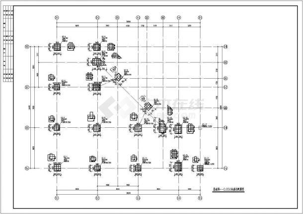 繁华的框架结构二层商业街商铺全套结构cad施工图(独立基础,说明齐全)-图一