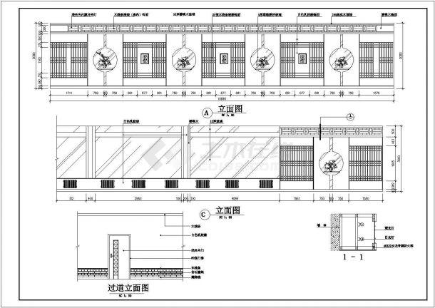 过道吊顶cad平面图_大型餐厅单层中式装修施工cad平面方案图(吊顶地面墙面 ...