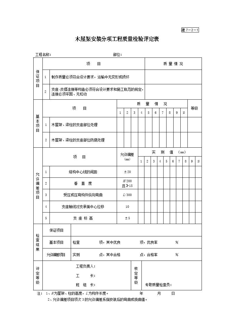 木屋架安装分项工程质量检验评定表图片1
