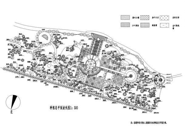 园林绿化施工cad图种植总平面cad设计放线图(苗木表齐全)-图一