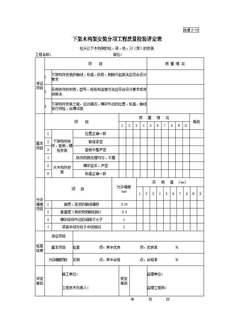 古建2-10下架木构架安装分项工程质量检验评定表图片1