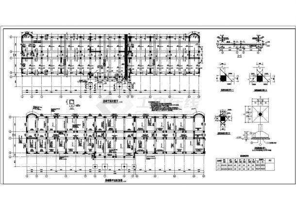 山西22米六层办公楼底部框架抗震墙结构施工cad布置图-图一