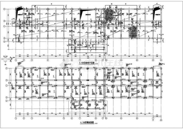 山西22米六层办公楼底部框架抗震墙结构施工cad布置图-图二