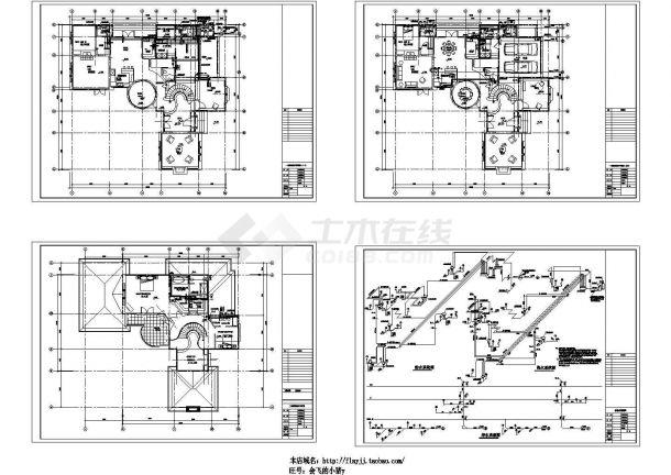 某2层独立别墅给排水设计图-图一