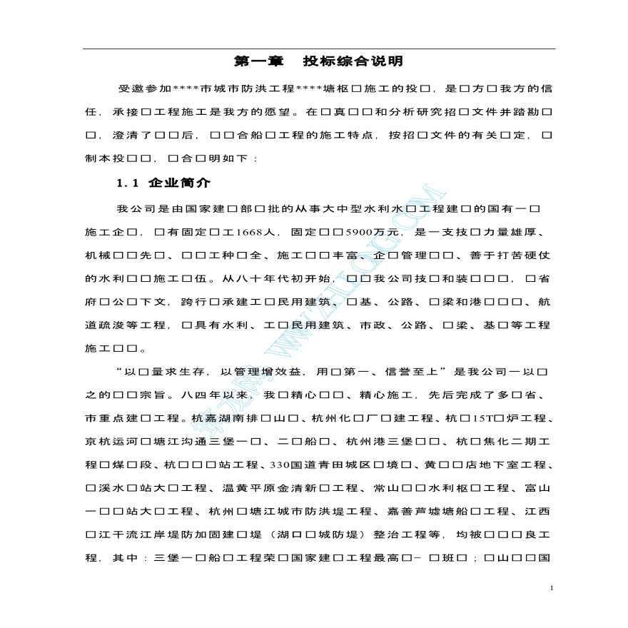 三堡二线船闸投标书文件图片1