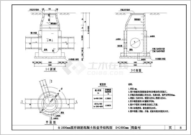 某地区检查井标准结构设计CAD图-图一