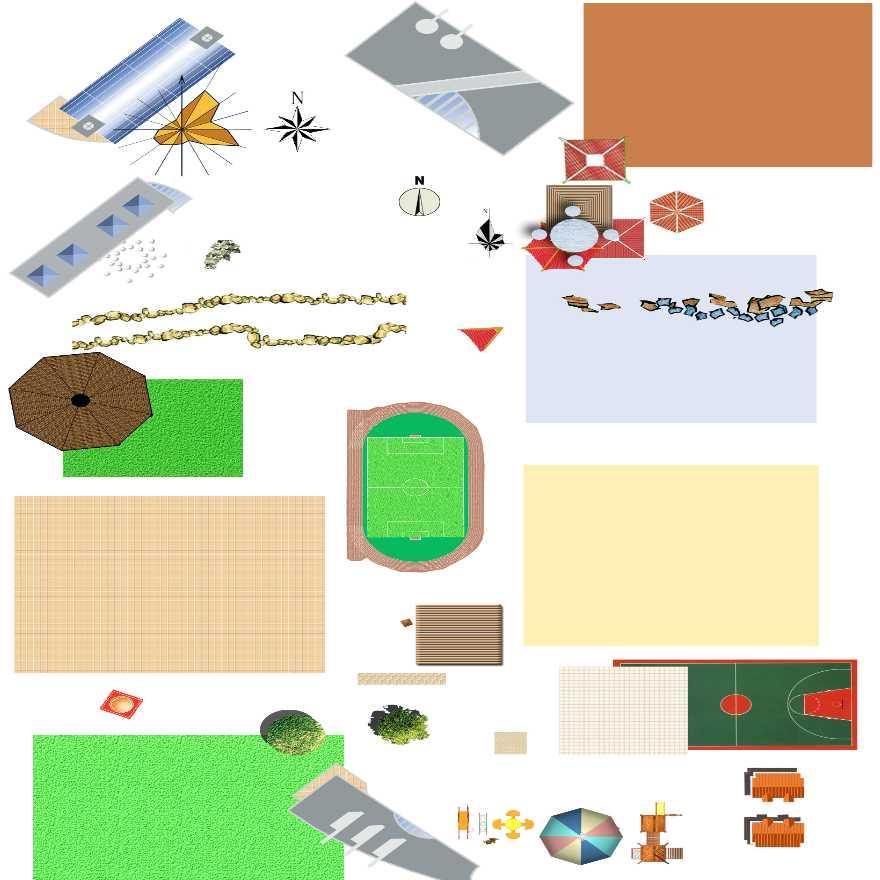 园林景观平面图素材——亭,汀步,球场,滑梯,铺装,植物素材-图一