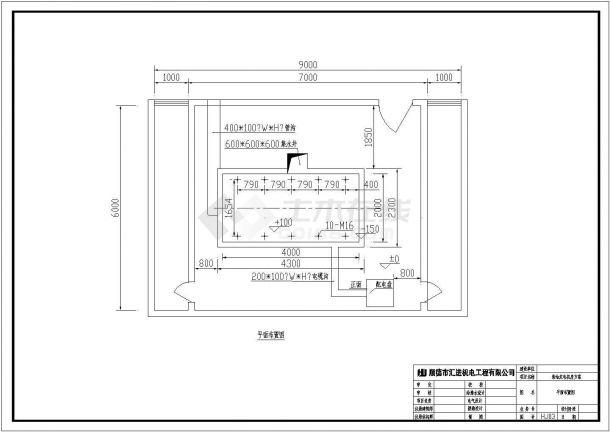 某地区300KW发电机环保机房(开式)CAD设计图纸-图二