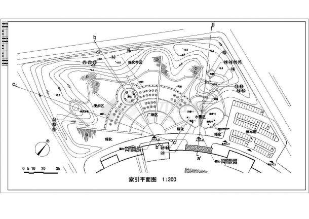 某酒店园林景观施工图纸(标注明细)-图一