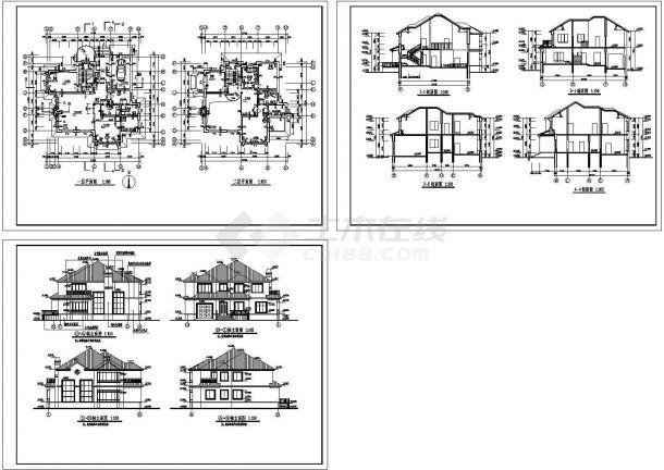 2层全套别墅室内装修图纸带效果图-图一