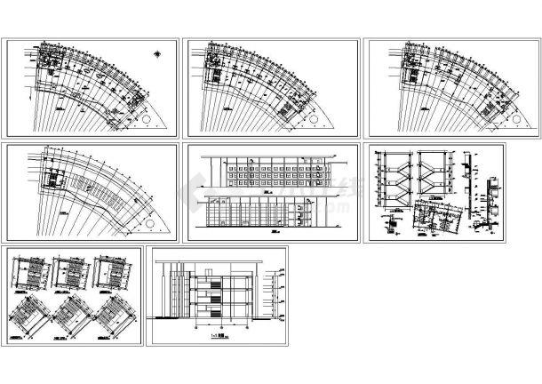三亚弧形酒店式公寓住宅楼建筑施工设计图-图一