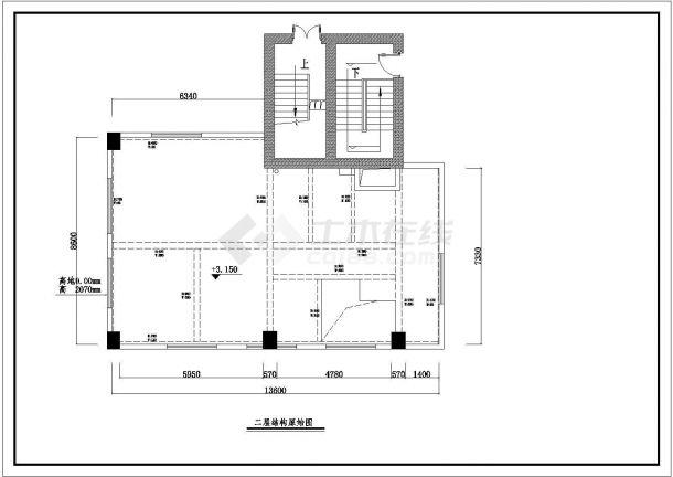 某市现代三层空中别墅室内装修图纸-图二