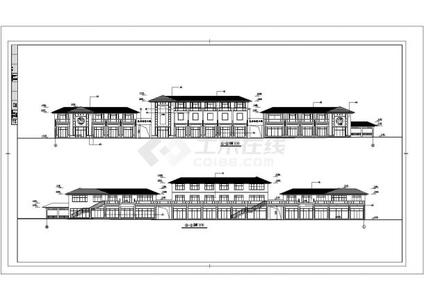 某地区小型二层商业街建筑设计图纸-图一