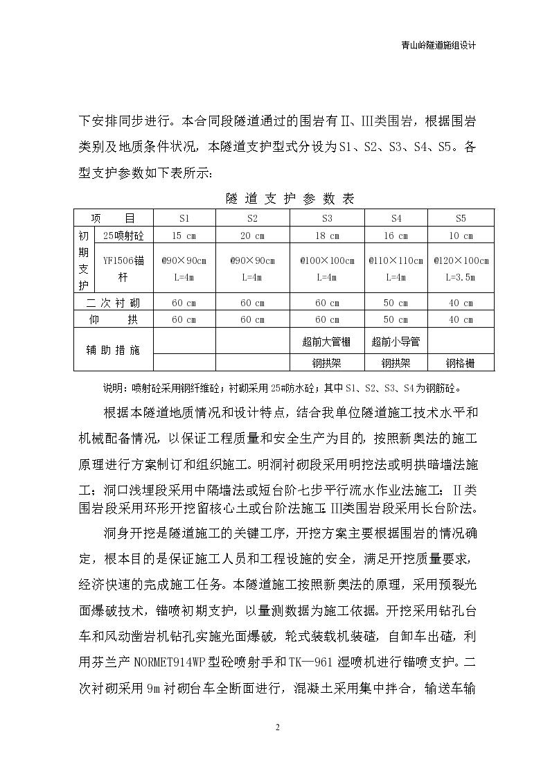 云南青山岭公路隧道施工组织设计方案-图二