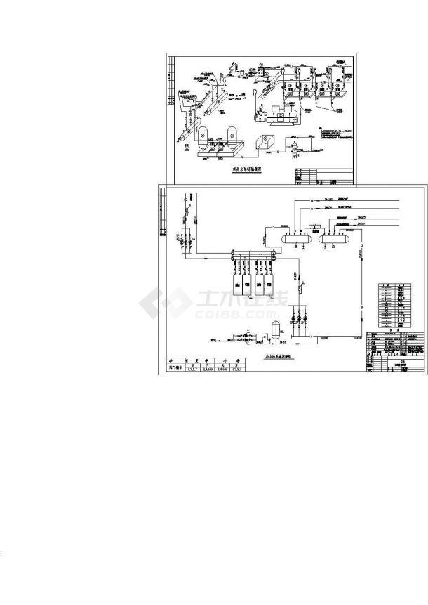 宾馆中央空调系统机房(涡旋机)暖通原理图-图一
