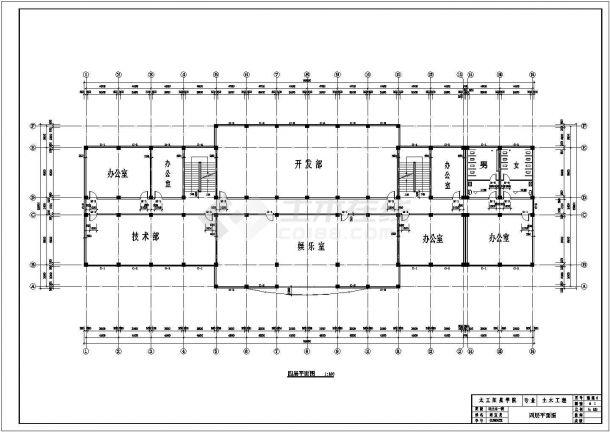 5000平米五层框架办公楼建筑施工cad图纸-图二