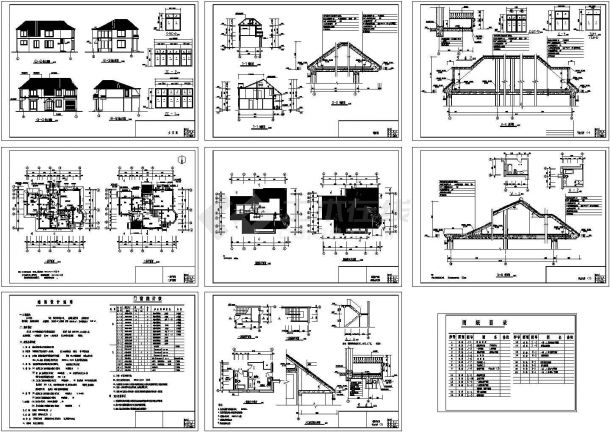 北方二层别墅住宅建筑设计cad图纸,共9张-图一