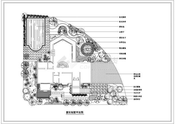 富阳别墅景观绿化设计CAD平面图纸-图一