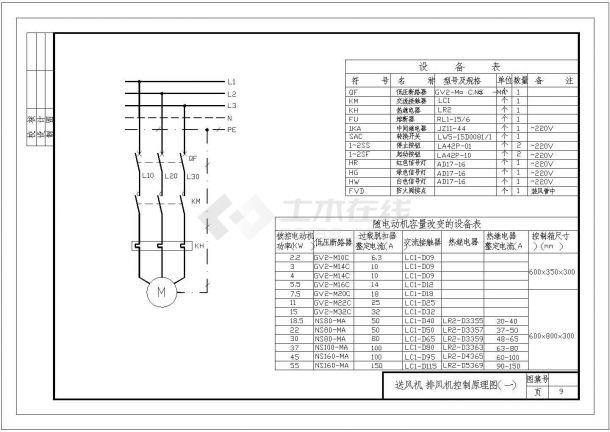 常用排风机电气控制原理施工cad图纸-图一