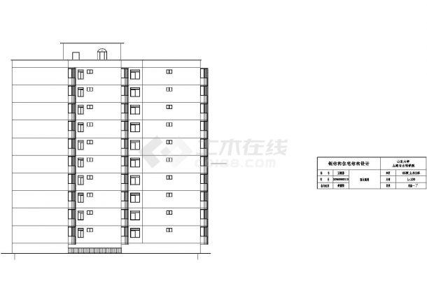 15120平米半地下室地上10层钢框架住宅建筑设计cad图-图一