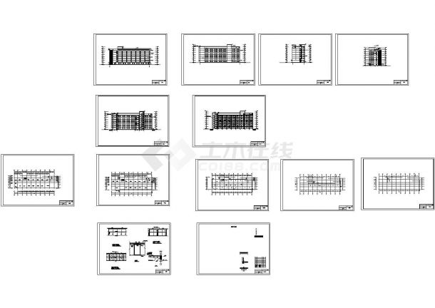 多层办公楼建筑结构毕业设计图纸(5套图纸)-图一