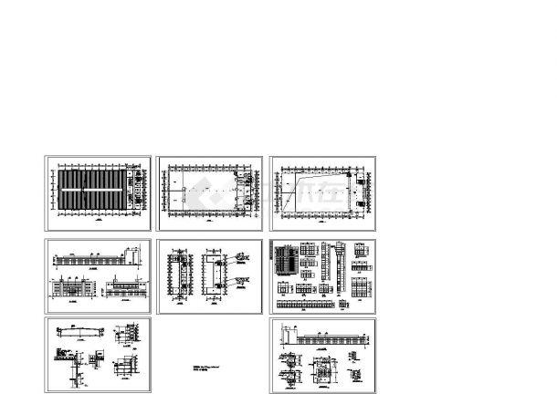 主2层局部4层磨工车间厂房建筑施工图纸【平立剖 卫生间放大平面】-图一