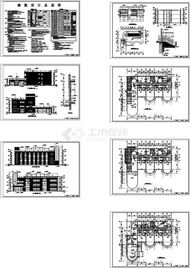 3层砖混结构教学楼土建工程量计算(图纸)-图一