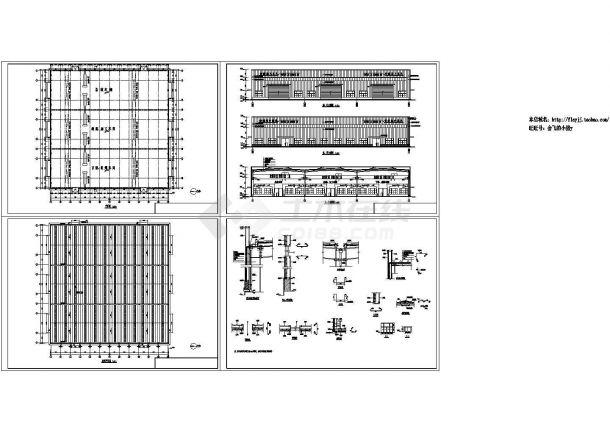 山东地区总装结构加工下料组焊车间建筑图( 长91.48米 宽90.82米)-图一