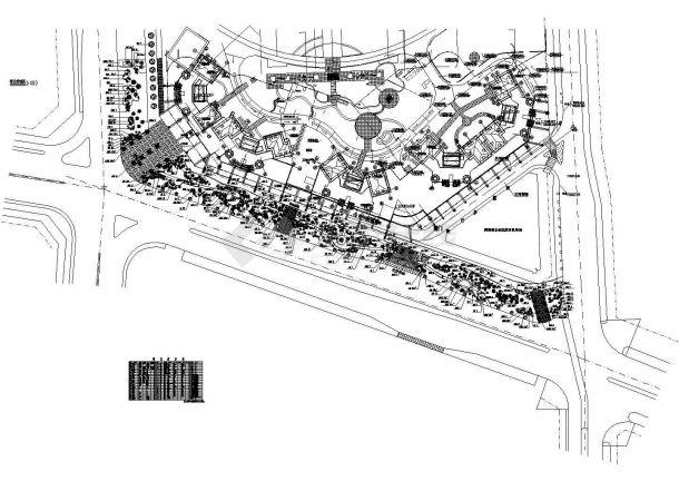 世纪村绿化种植CAD平面图(含植物材料表)-图一
