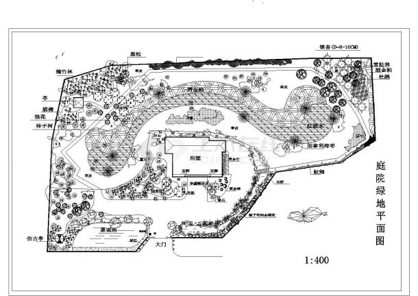 庭院绿化种植CAD平面图-图一