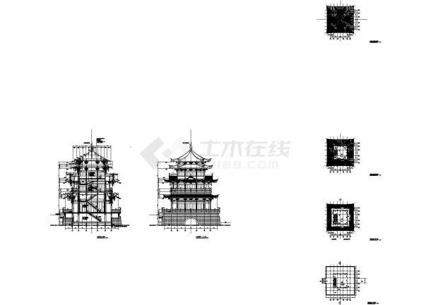 云峰烟水阁仿古建设计cad建筑施工图(大院设计)-图一