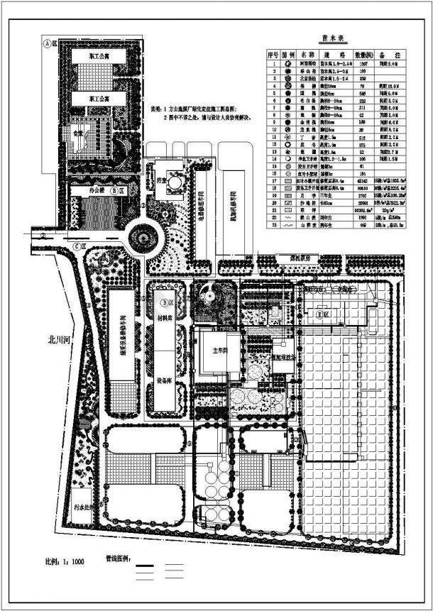 xx选煤厂厂区绿cad化景观设计图-图一