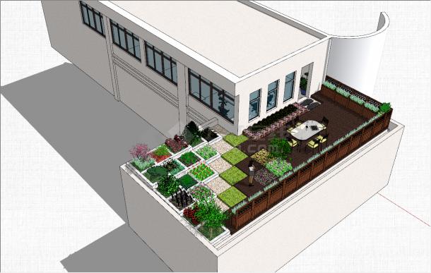 简约别墅独特庭院设计参考模型-图一