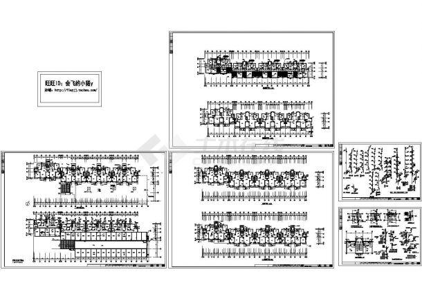 某5+1阁楼层(1梯2户4单元)住宅楼给排水施工图纸(标注明细)(长81.41米* 宽24.18米)-图一