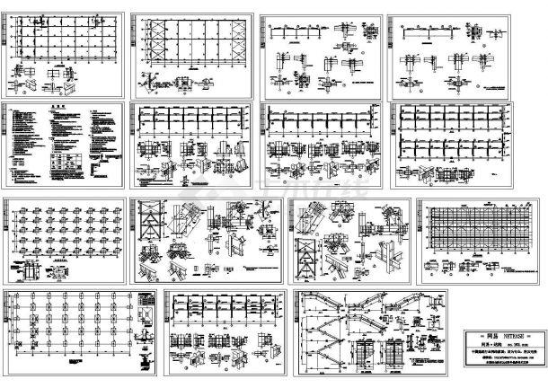 某地区三层商业用钢框架结构设计施工图-图一