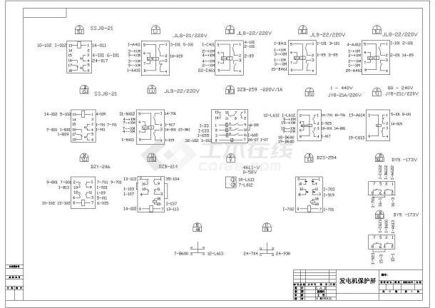 某小型发电机电气CAD设计施工接线图-图一