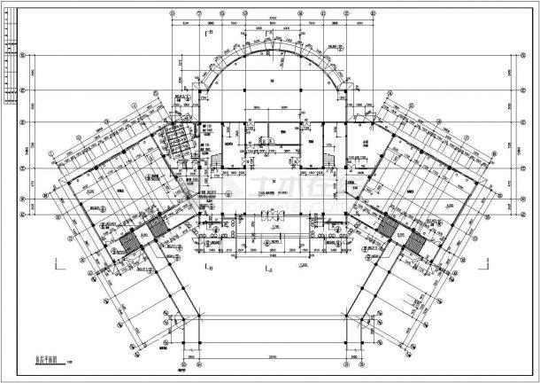 四层学校图书馆教育建筑设计施工图-图一