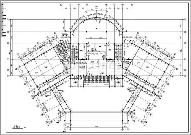 四层学校图书馆教育建筑设计施工图-图二