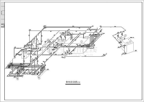 某空调制冷机房CAD设计施工图纸-图一