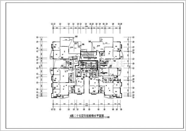 [重庆]一类高层建筑给排水设计全套cad施工图-图一