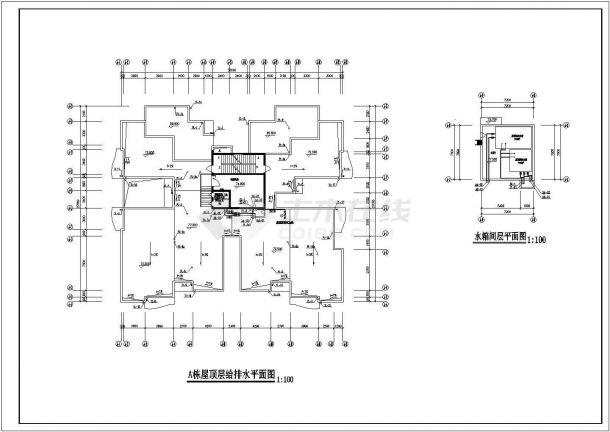 [重庆]一类高层建筑给排水设计全套cad施工图-图二