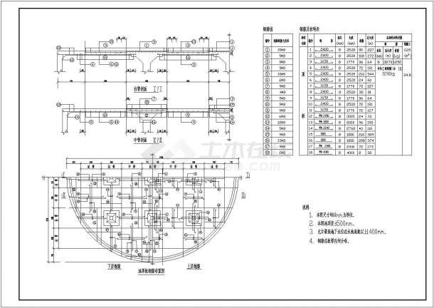 昌江县叉河镇供水工程500立方圆形蓄水池结构钢筋图-图一