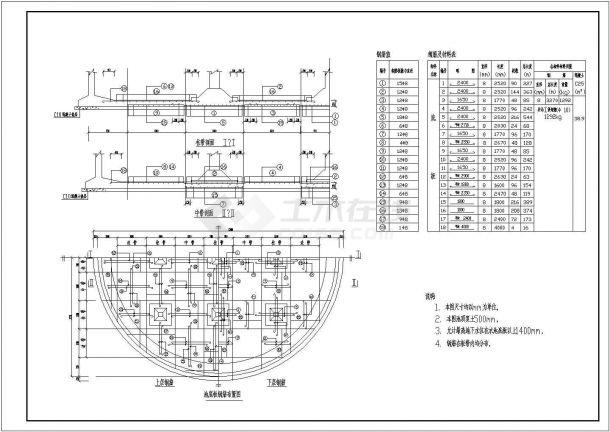 昌江县叉河镇供水工程500立方圆形蓄水池结构钢筋图-图二