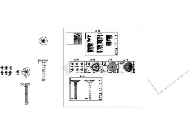 某地49米高体育中心景观塔结构施工图(含建筑图18吨消防水箱)-图一