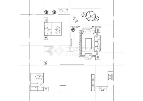 某两厅一厅室内家具平面布置图-图一