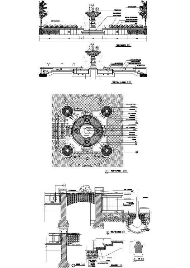 某城市园林景观喷泉广场(方形14720*14720)设计cad全套施工图(标注详细)-图一