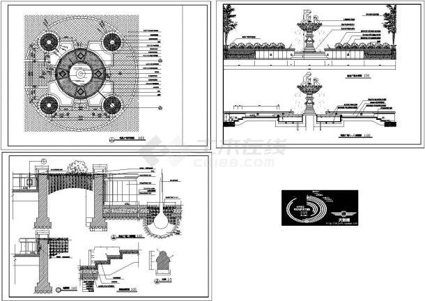 某城市园林景观工程喷泉水景广场设计cad施工图(大院设计)-图一