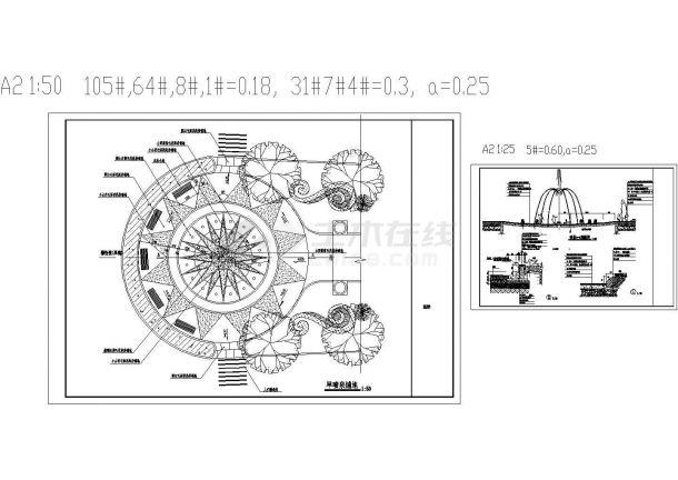 某小区入口景观水景旱喷泉设计cad施工详图(大院设计)-图一